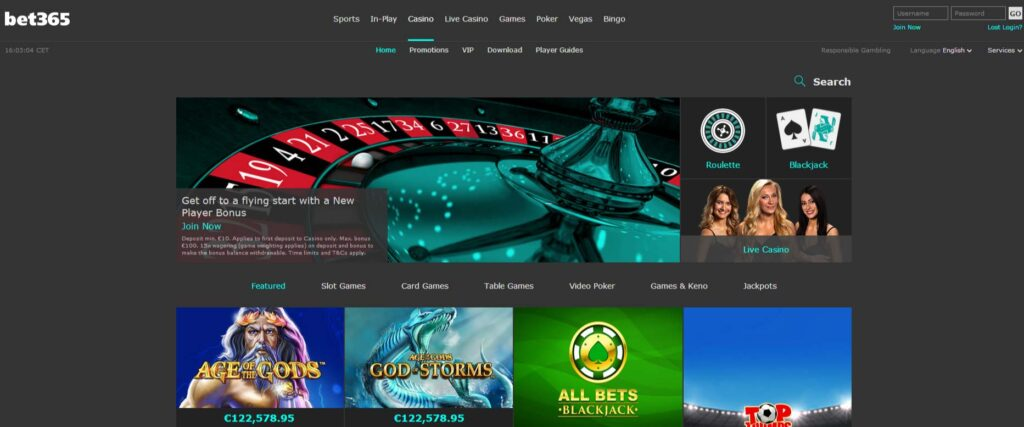 Bet365 site is great for casinos